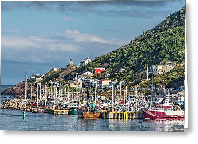 A Fishing Harbour In Newfoundland Canada Greeting Card