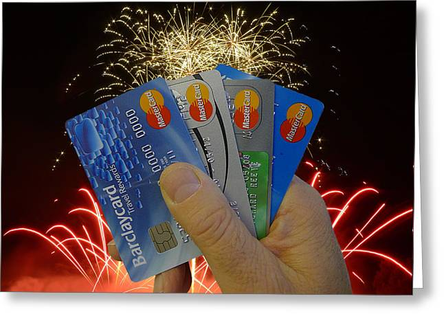 A Fistful Of Credit Greeting Card