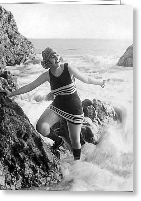 A Flapper In Her Bathing Suit Greeting Card