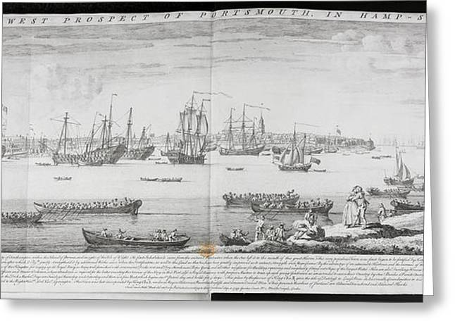 A Fleet Of Ships Off Portsmouth Greeting Card