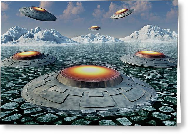 A Fleet Of Ufos In The Antarctic Greeting Card