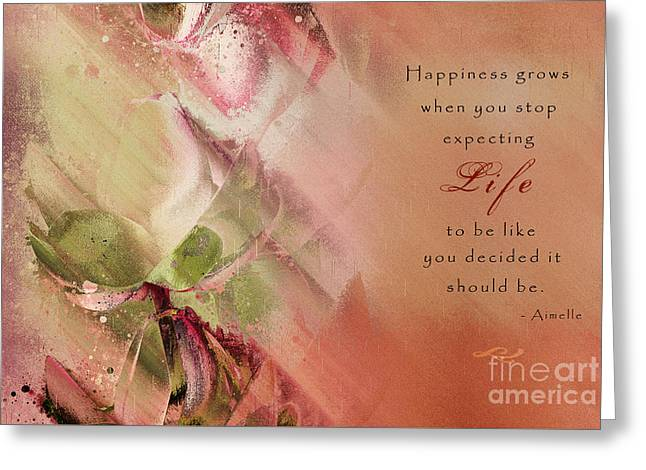 A Fleur De Peau - Happiness Quote 03 Greeting Card by Aimelle