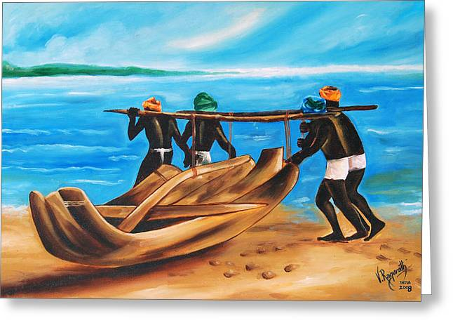 Greeting Card featuring the painting A Float On The Ocean by Ragunath Venkatraman