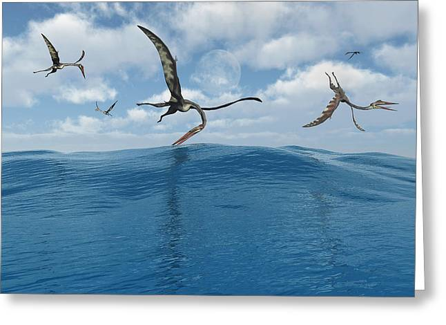 A Flock Of Quetzalcoatlus Fishing Greeting Card by Mark Stevenson