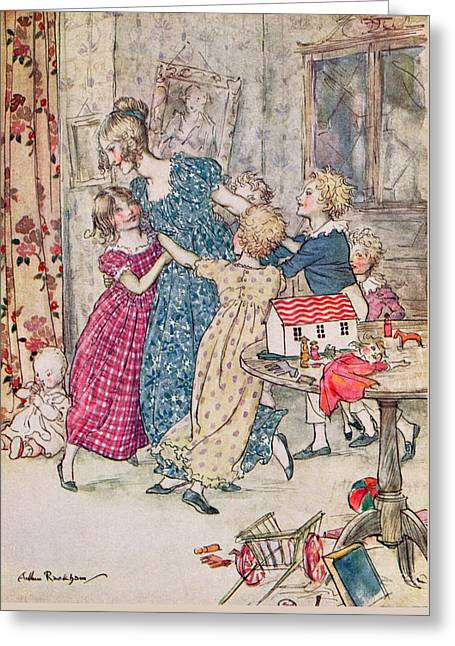 A Flushed And Boisterous Group, Book Illustration  Greeting Card by Arthur Rackham