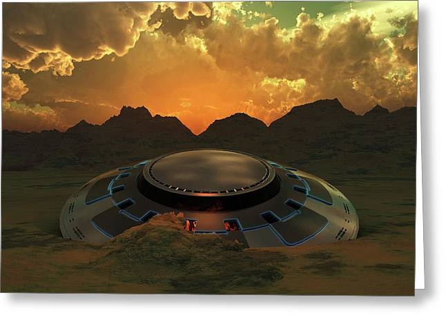 A Flying Saucer Crashed In A Desert Greeting Card