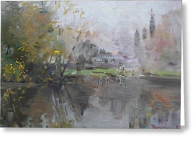 A Foggy Fall Day By The Pond  Greeting Card