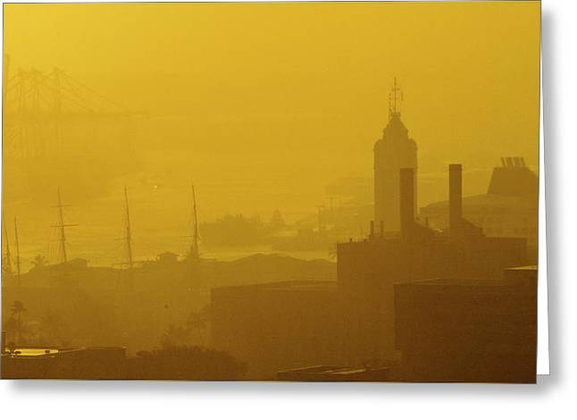 A Foggy Golden Sunset In Honolulu Harbor Greeting Card
