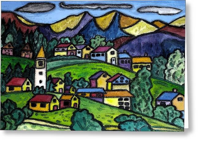A Folksy Swiss Town Greeting Card by Monica Engeler