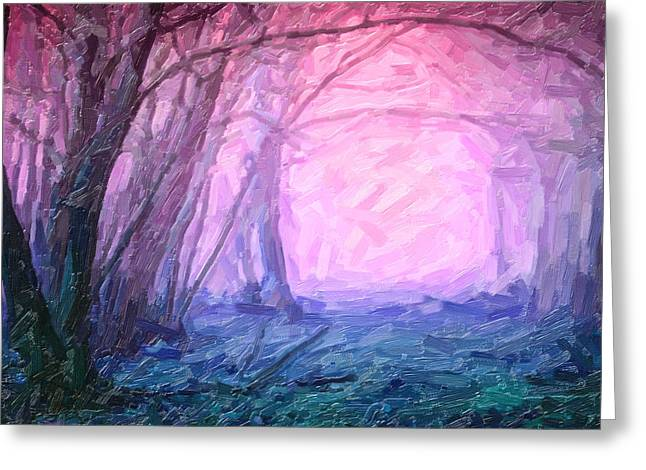A Forest With Fog Greeting Card