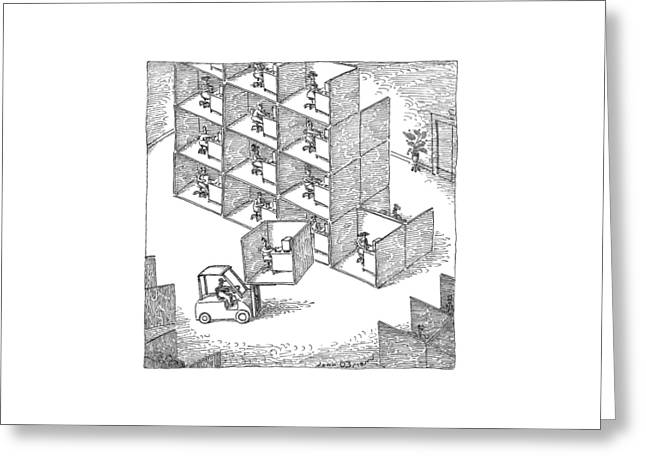 A Forklift Lifts A Cubicle And Moves To Stack Greeting Card by John O'Brien