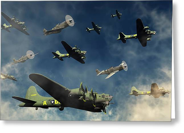 A Formation Of B-17 Flying Fortress Greeting Card