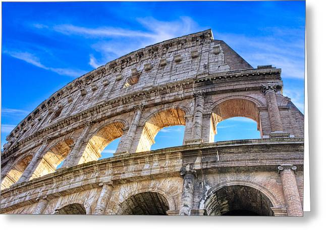A Fragment Of Rome's Glory - Colosseum Greeting Card by Mark E Tisdale