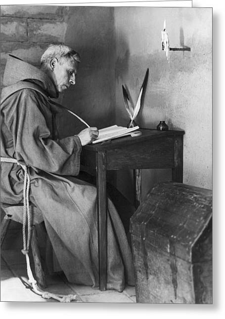 A Franciscan Padre Writing Greeting Card by Underwood Archives Onia