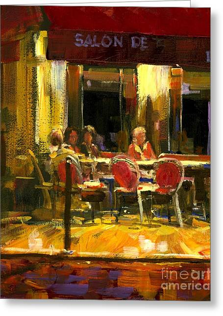A French Cafe And Friends Greeting Card by Michael Swanson