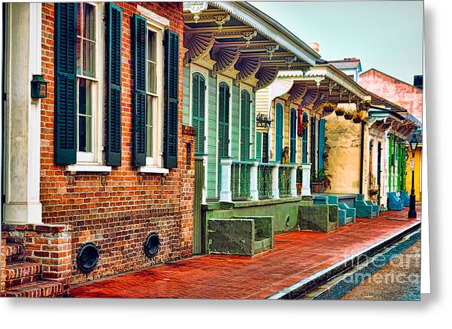 A French Quarter Street - Digital Painting Greeting Card by Kathleen K Parker
