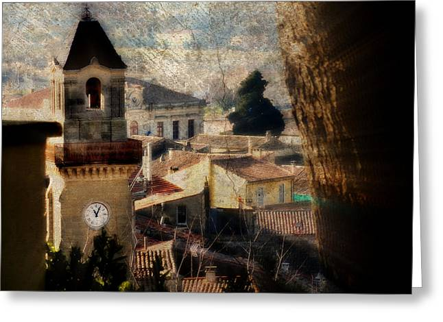 A French Village Greeting Card by Tina Concetta Marzocca