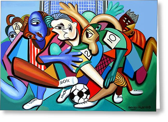 Greeting Card featuring the painting A Friendly Game Of Soccer by Anthony Falbo