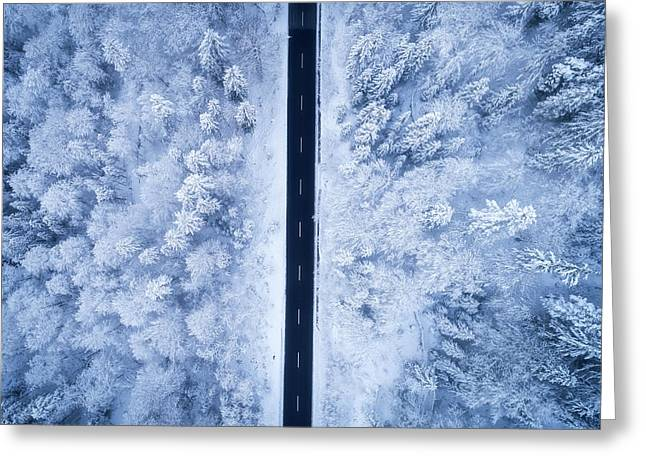 A Frosty Road Greeting Card