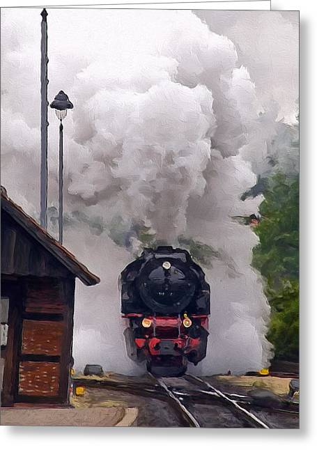 A Full Head Of Steam Greeting Card by Michael Pickett