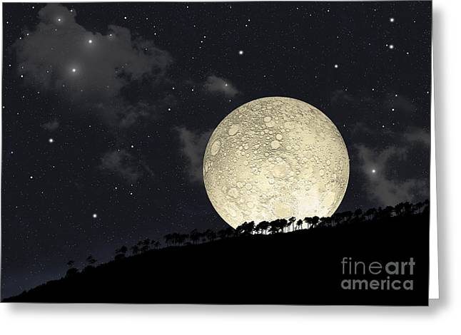 A Full Moon Rising Behind A Row Greeting Card by Marc Ward