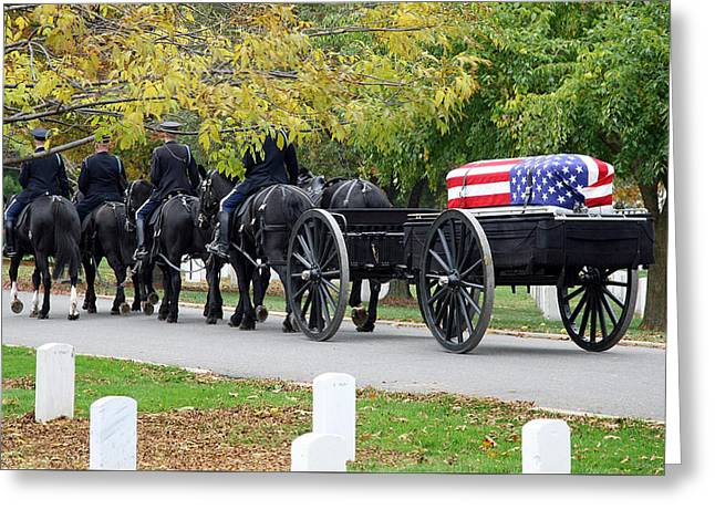 Greeting Card featuring the photograph A Funeral In Arlington by Cora Wandel