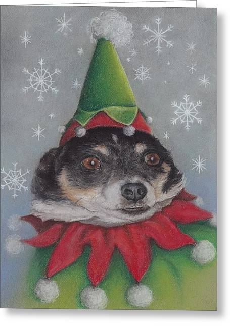 A Furry Christmas Elf Greeting Card by Pamela Humbargar