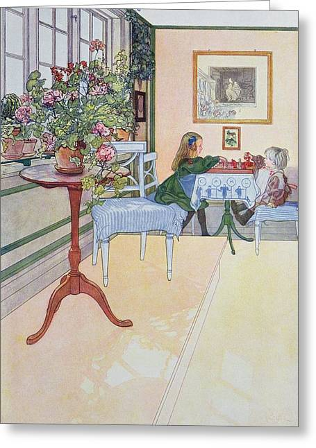 A Game Of Chess Greeting Card by Carl Larsson