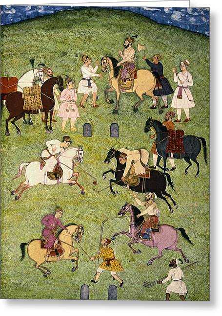 A Game Of Polo, From The Large Clive Greeting Card by Indian School