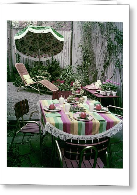 A Garden Set Up For Lunch Greeting Card