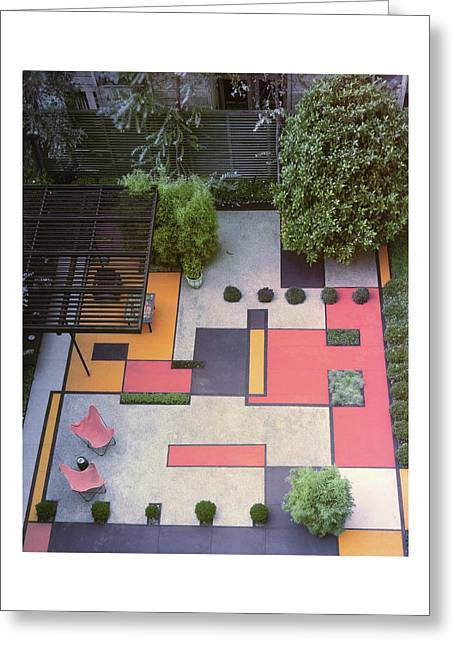A Garden With Colourful Landscaping In Dr Greeting Card