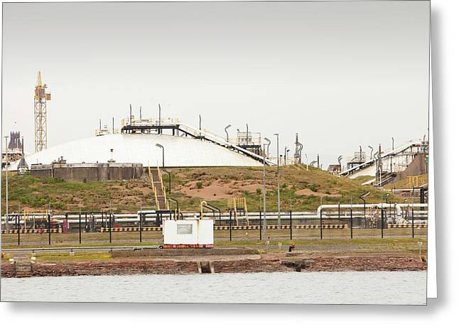 A Gas Condensate Storage Facility Greeting Card by Ashley Cooper