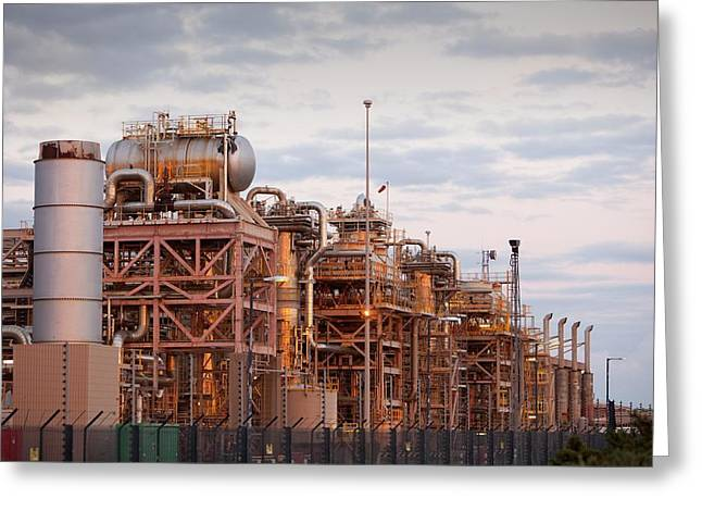 A Gas Processing Plant At Rampside Greeting Card by Ashley Cooper