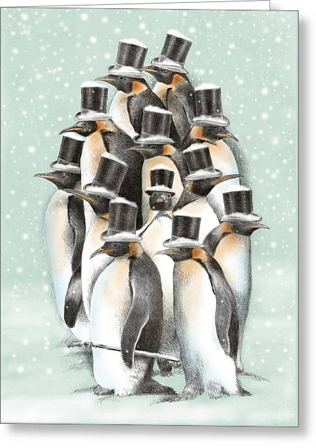 A Gathering In The Snow Greeting Card by Eric Fan
