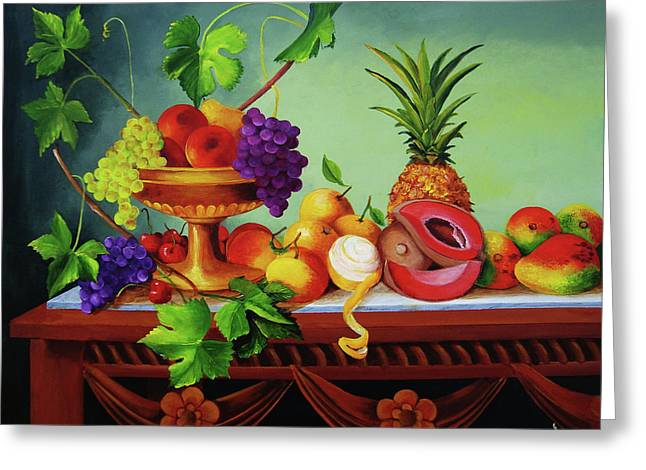 A Gathering Of Fruits  Greeting Card by Dominica Alcantara