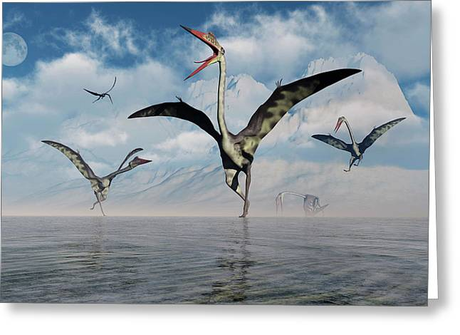 A Gathering Of Large Quetzalcoatlus Greeting Card by Mark Stevenson