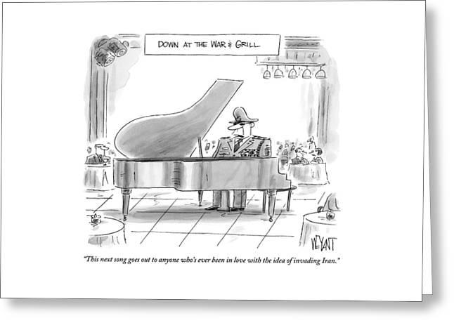 A General Plays Piano At A Bar Greeting Card