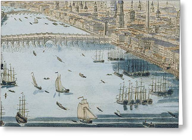 A General View Of The City Of London And The River Thames Greeting Card by Thomas Bowles