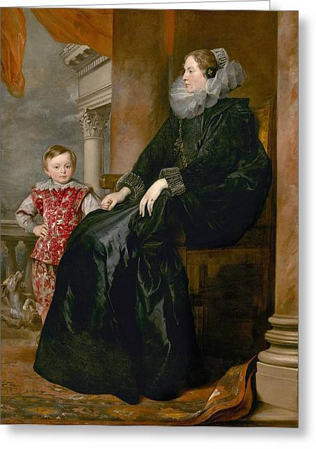 A Genoese Noblewoman And Her Son Greeting Card by Anthony van Dyck