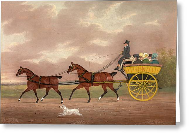 A Gentleman Driving Tandem To A Jaunting Car Going Greeting Card by Litz Collection