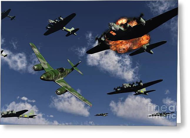 A German Me 262 Jetfighter Attacking Greeting Card by Mark Stevenson