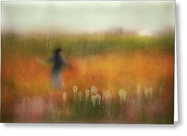 A Girl And Bear Grass Greeting Card