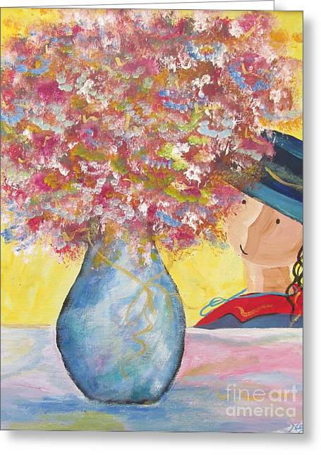 Greeting Card featuring the painting A Girl And Her Flower Vase. by Nereida Rodriguez