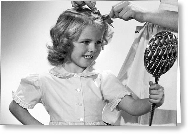 A Girl Gets A Bow Greeting Card by Underwood Archives