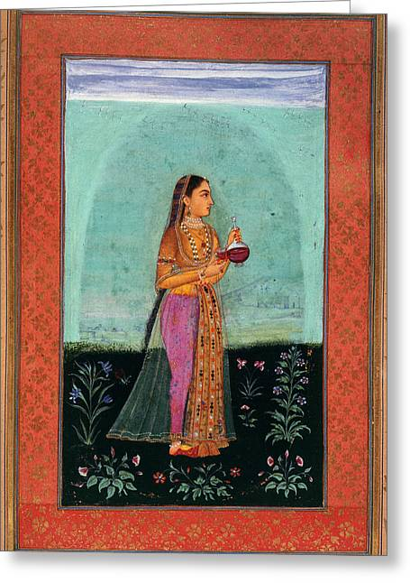 A Girl Holding A Glass & Cup Greeting Card by British Library