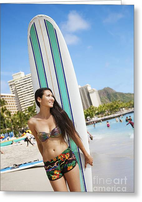 A Girl In A Bikini Standing On The Beach With Her Surfboard_ Oahu, Hawaii, United States Of America Greeting Card by Brandon Tabiolo