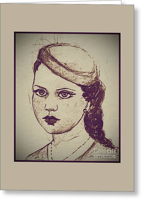 A Girl In A Pill Box Hat Greeting Card