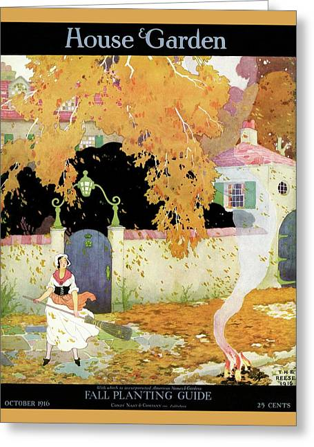 A Girl Sweeping Leaves Greeting Card by The Reeses
