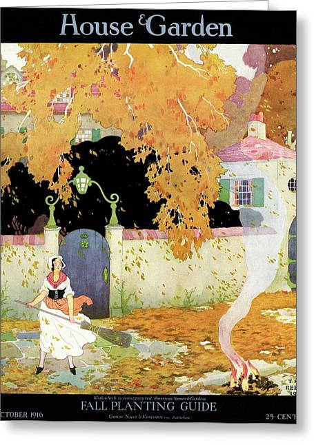 A Girl Sweeping Leaves Greeting Card