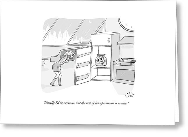 A Girl Who Is Talking On The Phone Opens A Fridge Greeting Card by Farley Katz
